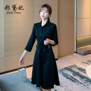 Dress Autumn 2020 Pink Black S M L XL XXL Mid length dress singleton  Long sleeves commute Polo collar High waist Solid color Socket routine 25-29 years old Caidaifei Korean version 71% (inclusive) - 80% (inclusive) polyester fiber