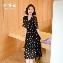 Dress Summer 2020 black S M L XL XXL Mid length dress singleton  elbow sleeve commute High waist Decor Socket pagoda sleeve 25-29 years old Caidaifei Korean version L1443RX More than 95% polyester fiber Polyester 100%