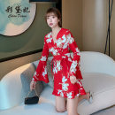 Dress Summer 2020 Black and red flowers S M L XL XXL Short skirt singleton  Long sleeves commute V-neck Decor Socket Lotus leaf sleeve 25-29 years old Caidaifei Korean version L1392RX More than 95% polyester fiber Polyester 100%