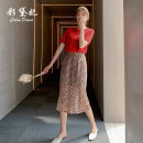 skirt Summer 2020 S M L XL XXL Orange Mid length dress commute High waist Decor 25-29 years old L1449RX-1 More than 95% Caidaifei polyester fiber Korean version Polyester 100%