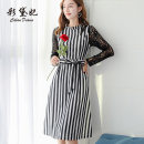 Dress Spring of 2019 Black and white stripes S M L XL XXL Middle-skirt singleton  Long sleeves commute High waist 25-29 years old Caidaifei Korean version L757RX More than 95% polyester fiber Polyester 97% polyurethane elastic fiber (spandex) 3%