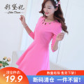 Dress Spring of 2019 Black light rose mint green light blue S M L XL XXL Short skirt singleton  Long sleeves commute other middle-waisted Solid color Socket other routine Others 25-29 years old Caidaifei Korean version C207 More than 95% knitting polyester fiber