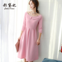 Dress Spring of 2019 Pink Black Red S M L XL Mid length dress singleton  Long sleeves commute High waist Solid color 25-29 years old Caidaifei Korean version L747RX More than 95% polyester fiber Polyester fiber 94.9% polyurethane elastic fiber (spandex) 5.1%
