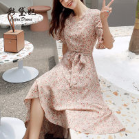 Dress Summer 2020 Apricot S M L XL Mid length dress singleton  elbow sleeve commute V-neck High waist Broken flowers Socket other other Others 25-29 years old Caidaifei Korean version GDD906 More than 95% Chiffon polyester fiber Polyester 100%