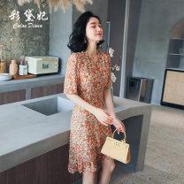 Dress Summer 2020 Orange S M L XL XXL Middle-skirt singleton  elbow sleeve commute V-neck High waist Decor Socket 25-29 years old Caidaifei Korean version More than 95% polyester fiber Polyester 100%