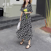 Dress Summer 2020 black S M L XL Mid length dress singleton  elbow sleeve commute V-neck High waist Broken flowers Socket other other Others 25-29 years old Caidaifei Korean version GDD812 More than 95% Chiffon polyester fiber Polyester 100%