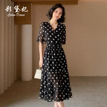 Dress Summer 2020 black S M L XL XXL Mid length dress singleton  elbow sleeve commute V-neck High waist Dot Socket 25-29 years old Caidaifei Korean version L1493RX More than 95% polyester fiber Polyester 100%