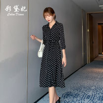 Dress Summer 2020 Black and white S M L XL XXL Mid length dress singleton  three quarter sleeve commute High waist Dot Single breasted 25-29 years old Caidaifei Korean version L1395RX More than 95% polyester fiber Polyester 100%