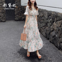 Dress Summer 2020 Apricot S M L XL Mid length dress singleton  elbow sleeve commute V-neck High waist Decor Socket A-line skirt Lotus leaf sleeve Others 25-29 years old Caidaifei Korean version GDD501 More than 95% Chiffon polyester fiber Polyester 100%