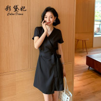 Dress Summer 2020 black S M L XL XXL Mid length dress singleton  Short sleeve commute High waist Solid color 25-29 years old Caidaifei Korean version L1470RX More than 95% polyester fiber Polyester 100%