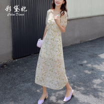 Dress Summer 2020 Beige S M L XL Mid length dress singleton  elbow sleeve commute V-neck High waist Broken flowers Socket other other Others 25-29 years old Caidaifei Korean version GDD607 More than 95% Chiffon polyester fiber Polyester 100%