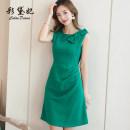 Dress Summer of 2019 Pink black yellow green S M L XL XXL Short skirt singleton  commute High waist Solid color 25-29 years old Caidaifei Korean version L818RX More than 95% polyester fiber Polyester fiber 94.9% polyurethane elastic fiber (spandex) 5.1%