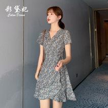 Dress Summer 2020 Blue Grey Pink S M L XL XXL Short skirt singleton  Short sleeve commute High waist Decor Socket 25-29 years old Caidaifei Korean version L1418RX More than 95% polyester fiber Polyester 100%
