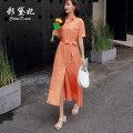 Dress Summer 2020 Orange S M L XL Mid length dress singleton  Short sleeve commute High waist Solid color 25-29 years old Caidaifei Korean version GDD015 More than 95% Chiffon polyester fiber Polyester 100%