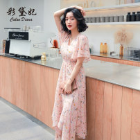 Dress Summer 2020 Pink S M L XL XXL Mid length dress singleton  Short sleeve commute V-neck middle-waisted Decor Socket 25-29 years old Caidaifei Korean version L1444RX More than 95% polyester fiber Polyester 100%