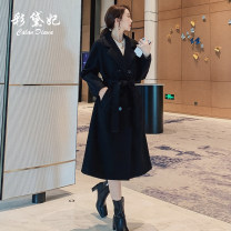 woolen coat Winter of 2019 S M L XL Black Beige Camel polyester 95% and above have more cash than can be accounted for Long sleeves commute double-breasted tailored collar Solid color Straight cylinder Korean version Caidaifei 25-29 years old Polyester 100%