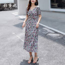 Dress Summer 2020 Decor S M L XL Mid length dress singleton  elbow sleeve commute V-neck High waist Broken flowers Socket other Others 25-29 years old Caidaifei Korean version More than 95% Chiffon polyester fiber Polyester 100%