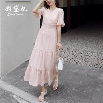 Dress Summer 2020 Pink S M L XL Mid length dress singleton  elbow sleeve commute V-neck High waist Decor Socket A-line skirt Lotus leaf sleeve Others 25-29 years old Caidaifei Korean version GDD410 More than 95% Chiffon polyester fiber Polyester 100%