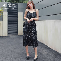 Dress Summer of 2019 Black and white S M L XL XXL longuette singleton  commute High waist 25-29 years old Caidaifei Korean version More than 95% polyester fiber Polyester 100%