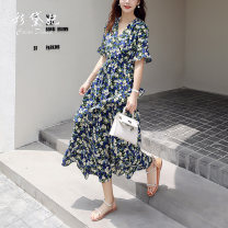 Dress Summer 2020 blue S M L XL Mid length dress singleton  elbow sleeve commute V-neck High waist Broken flowers Socket other other Others 25-29 years old Caidaifei Korean version GDD811 More than 95% Chiffon polyester fiber Polyester 100%