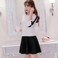 Dress Spring of 2019 Black and white suit S M L XL XXL Short skirt Two piece set three quarter sleeve commute Crew neck High waist Solid color Socket other routine Others 25-29 years old Caidaifei Korean version 088RX 91% (inclusive) - 95% (inclusive) knitting polyester fiber