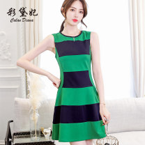 Dress Spring of 2019 green S M L XL XXL Short skirt singleton  Sleeveless commute Crew neck High waist Socket 25-29 years old Caidaifei Korean version More than 95% polyester fiber Polyester fiber 94.9% polyurethane elastic fiber (spandex) 5.1%