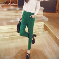 Casual pants green S M L XL Spring of 2019 trousers Haren pants Natural waist commute 25-29 years old 96% and above K0033 Caidaifei polyester fiber Korean version Polyester fiber 95.6% polyurethane elastic fiber (spandex) 4.4%