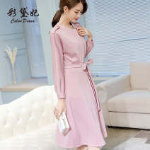 Dress Spring of 2019 S M L XL XXL Middle-skirt singleton  Long sleeves commute High waist Solid color Socket 25-29 years old Caidaifei Korean version L436RX More than 95% polyester fiber Polyester fiber 94.9% polyurethane elastic fiber (spandex) 5.1%