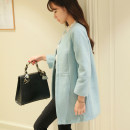 woolen coat Autumn 2016 S M L XL XXL Pink light blue pink thickened light blue thickened polyester 91% (including) - 95% (excluding) Medium length Nine point sleeve commute Buckle other Crew neck Solid color Korean version N0903 Caidaifei 25-29 years old polyester fiber Imitation fabric