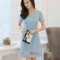 Dress Spring of 2019 Light blue autumn green S M L XL XXL Short skirt singleton  Short sleeve commute Crew neck High waist Solid color Socket other other Others 25-29 years old Caidaifei Korean version Splicing W222Q More than 95% knitting polyester fiber