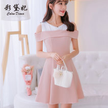 Dress Spring of 2019 Pink 105 bean green 105 black 253 rose red 253 sky blue 253 S M L XL XXL Short skirt singleton  Short sleeve commute Crew neck High waist Solid color Socket Others 25-29 years old Caidaifei Korean version 105RX More than 95% knitting polyester fiber