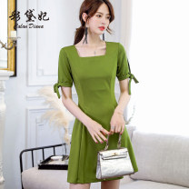 Dress Spring of 2019 Pink black army green S M L XL XXL Short skirt singleton  Short sleeve commute High waist Solid color Socket Others 25-29 years old Caidaifei Korean version L523RX More than 95% polyester fiber Polyester fiber 94.9% polyurethane elastic fiber (spandex) 5.1%