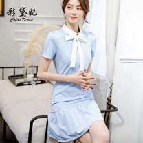 Dress Spring of 2019 Pink light blue S M L XL XXL Short skirt singleton  Short sleeve commute High waist Socket Others 25-29 years old Caidaifei Korean version L553RX More than 95% polyester fiber Polyester fiber 94.9% polyurethane elastic fiber (spandex) 5.1%