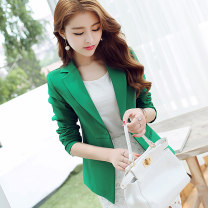 suit Spring 2020 Sky blue green S M L XL XXL Long sleeves routine Self cultivation tailored collar A button commute routine Solid color R8018 25-29 years old 91% (inclusive) - 95% (inclusive) polyester fiber Caidaifei Polyester fiber 94.1% polyurethane elastic fiber (spandex) 5.9%