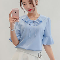 Lace / Chiffon Spring of 2019 White sky blue pink S M L XL XXL elbow sleeve commute Socket singleton  Self cultivation Regular Solid color 25-29 years old Caidaifei 214RX Polyester fiber 93.2% polyurethane elastic fiber (spandex) 6.8%