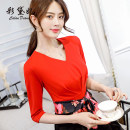 Dress Spring of 2019 Black red S M L XL XXL Short skirt singleton  three quarter sleeve commute High waist Solid color Socket 25-29 years old Caidaifei Korean version L457RX More than 95% polyester fiber Polyester fiber 94.9% polyurethane elastic fiber (spandex) 5.1%