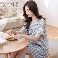 Home skirt Jiaoyin Grey red M L XL XXL Short sleeve summer Crew neck Thin money lovely Socket stripe cotton pure cotton C962