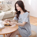 Home skirt Jiaoyin Grey red M L XL XXL Short sleeve summer Crew neck Thin money lovely Socket stripe cotton pure cotton C962