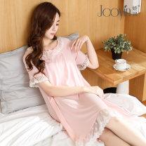 Home skirt Jiaoyin Pink Blue M L XL XXL Short sleeve summer Crew neck Thin money Princess lace Socket Solid color modal  M709
