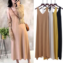 Dress Summer 2017 White, yellow, khaki, black, navy Average size longuette singleton  Sleeveless street V-neck High waist Solid color Socket Pleated skirt other straps 25-29 years old Type A backless 31% (inclusive) - 50% (inclusive) knitting other Europe and America