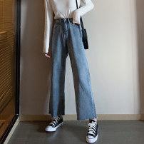 Women's large Autumn of 2019 wathet Large L, large XL, m, 2XL, 3XL, 4XL Jeans Sweet easy Denim YUEBAN 18-24 years old Ninth pants college