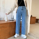 Women's large Winter of 2019, spring of 2020 blue Big L, big XL, big XXL, big XXXL, big XXXXL, big s, M Jeans singleton  commute easy moderate Korean version Denim, cotton, other Three dimensional cutting 18-24 years old pocket 81% (inclusive) - 90% (inclusive) trousers Contains (9 oz) - 11 oz