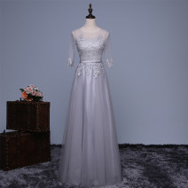 Dress / evening wear Weddings, adulthood parties, company annual meetings, daily appointments XS/18 S/19 M/20 L/21 XL/22 XXL/23 XXXL/24 Silver grey long grey short Korean version longuette middle-waisted Summer 2016 Skirt hem One shoulder Bandage 26-35 years old D6201 elbow sleeve Embroidery routine