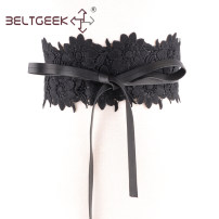 Belt / belt / chain cloth White black female belt grace Single loop Children, youth, middle age bow soft surface Cut out Lace Bow BELTGEEK Autumn and winter 2018