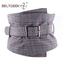 Belt / belt / chain cloth Light gray red brown female Waistband Versatile Single loop Middle aged youth Pin buckle other Glossy surface 26cm alloy Check pattern BELTGEEK Spring / summer 2018 no