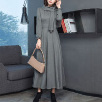 Dress Autumn 2020 Gray blue S M L XL XXL XXXL 4XL longuette singleton  Long sleeves commute V-neck middle-waisted Solid color zipper Big swing bishop sleeve Others 30-34 years old Edou / edu Simplicity Three dimensional decorative zipper More than 95% other polyester fiber Polyester 100%