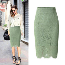 skirt Spring of 2018 XS S M L XL XXL XXXL Green black white brick red grey powder Mid length dress Versatile High waist skirt Solid color Type H 25-29 years old SY-Q180321 Lace S. Y. Xianzi / Suyu Fairy Lace Pure e-commerce (online only)