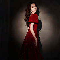 Dress / evening wear Weddings, adulthood parties, company annual meetings, daily appointments S M L XL XXL claret Korean version longuette middle-waisted Summer 2021 Self cultivation One shoulder zipper 18-25 years old JB211408 Short sleeve Solid color Jiaostep puff sleeve Other 100% other