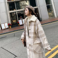 woolen coat Spring of 2019 S M L Khaki Khaki cotton version brown brown cotton version polyester 91% (including) - 95% (excluding) Medium length Long sleeves commute Single breasted routine square neck lattice Straight cylinder Korean version MN528 Auruti 18-24 years old Pocket panel button