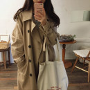 Windbreaker Spring of 2019 S M L Khaki Beige Khaki lining with cotton Long sleeves routine Medium length commute Single breasted V-neck routine Solid color Straight cylinder Korean version Auruti FY319 18-24 years old Pocket tie 96% and above polyester fiber polyester fiber Polyester 100%